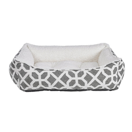 Bowsers Pet Scoop Bolstered Dog Bed — Chenille Palazzo + Ivory Faux Sheepskin