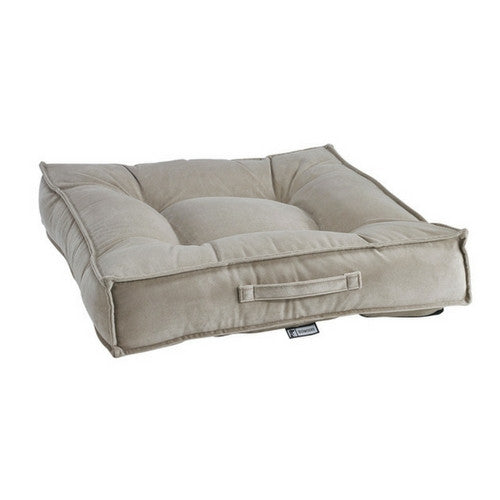 Bowsers MicroVelvet Tufted Square Piazza Nesting Dog Bed — Almond