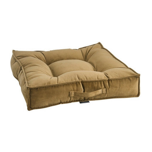 Bowsers MicroVelvet Tufted Square Piazza Nesting Dog Bed — Amber