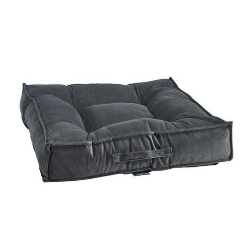 Bowsers MicroVelvet Tufted Square Piazza Nesting Dog Bed — Ash
