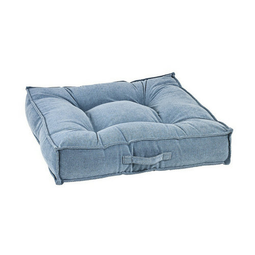 Bowsers MicroVelvet Tufted Square Piazza Nesting Dog Bed —Bluestone