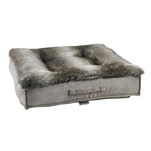 Bowsers Faux Fur Tufted Square Piazza Nesting Dog Bed — Chinchilla