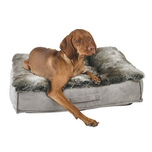 Bowsers Faux Fur Tufted Square Piazza Nesting Dog Bed — Chinchilla with Dog