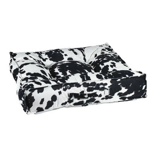 Bowsers MicroVelvet Tufted Square Piazza Dog Bed — Wrangler Black Cow Print