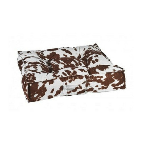 Bowsers MicroVelvet Tufted Square Piazza Dog Bed — Durango Brown Cow Print