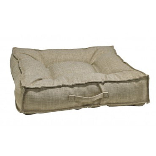 Bowsers MicroLinen Tufted Square Piazza Nest Dog Bed — Flax