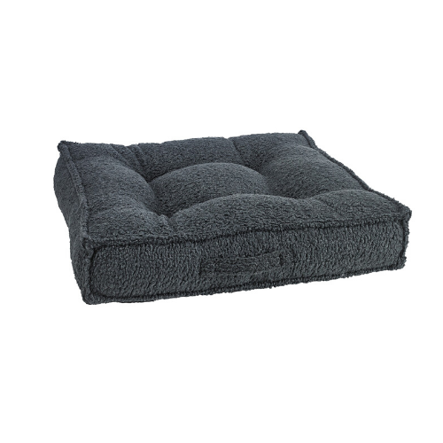 Bowsers Faux Sheepskin Tufted Square Piazza Nesting Dog Bed — Grey
