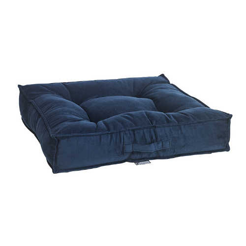 Bowsers Pet Microvelvet Tufted Square Piazza Nesting Dog Bed — Navy