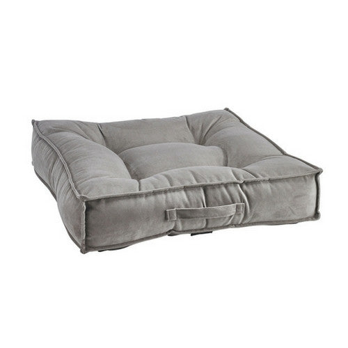 Bowsers MicroVelvet Tufted Square Piazza Nesting Dog Bed — Pebble