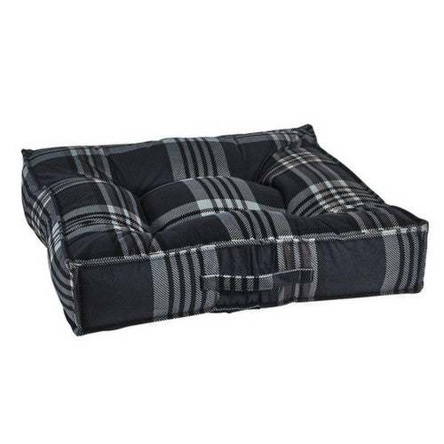 Bowsers MicroVelvet Tufted Square Piazza Dog Bed — Greystone Tartan