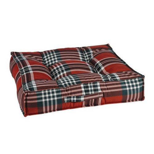 Bowsers MicroVelvet Tufted Square Piazza Dog Bed — Royal Troon Tartan