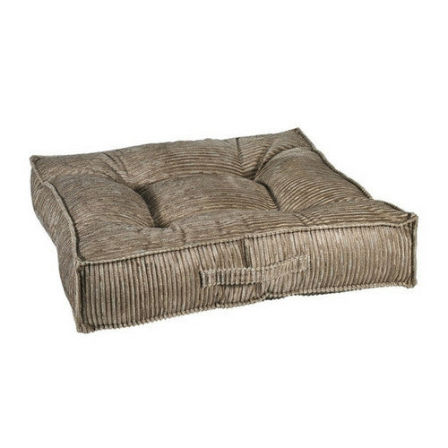 Bowsers MicroVelvet Tufted Square Piazza Nest Dog Bed — Wheat