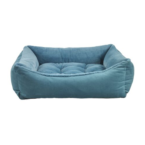 Bowsers Scoop Bolstered Nesting Dog Bed — Breeze Dream Fur with Teal
