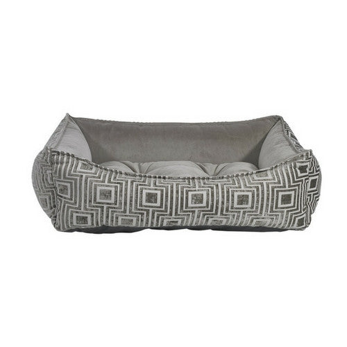 Bowsers Scoop Bolstered Dog Bed — Cafe Au Lait Jacquard Pebble MicroVelvet