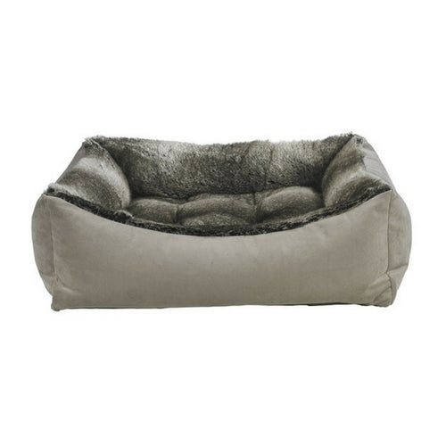 Bowsers Scoop Bolstered Nesting Dog Bed — Pebble + Faux Fur Chinchilla