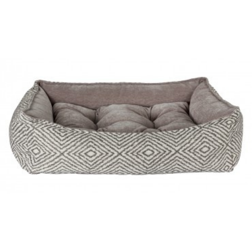 Bowsers Scoop Bolstered Dog Bed — Diamondback Jacquard Pumice MicroVelvet