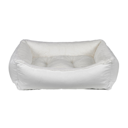 Bowsers Scoop Bolstered Nest Dog Bed — Winter Dream Fur with Snowflake