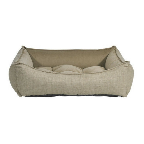 Bowsers Scoop Bolstered Dog Bed — Flax MicroLinen Toffee MicroVelvet