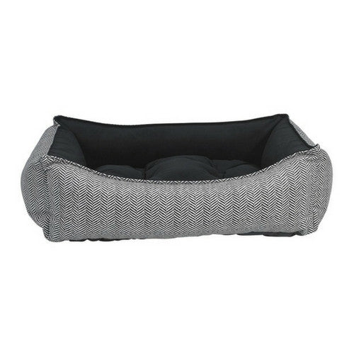 Bowsers Scoop Bolstered Nest Dog Bed — MicroVelvet Herringbone Ebony