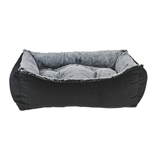 Bowsers Scoop Bolstered Nest Dog Bed — Ebony + Faux Fur Royal Sterling