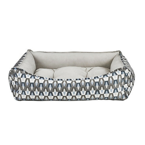 Bowsers Scoop Bolstered Dog Bed — Titan Jacquard Granite MicroVelvet