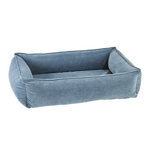 Bowsers MicroVelvet Urban Lounger Rectangle Nest Dog Bed — Bluestone