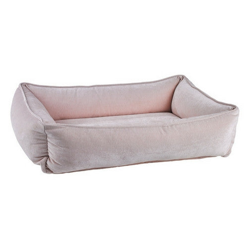 Bowsers Pet MicroVelvet Urban Lounger Rectangle Nest Dog Bed — Blush