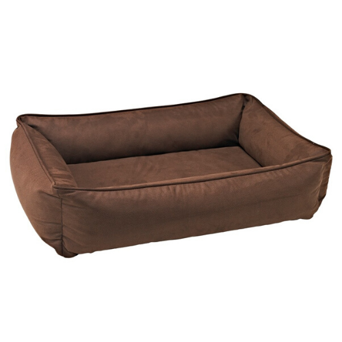 Bowsers Faux Leather Urban Lounger Rectangle Nest Dog Bed — Cowboy