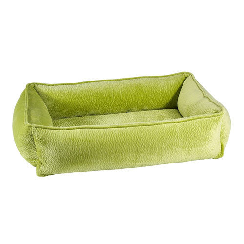 Bowsers Pet MicroVelvet Urban Lounger Rectangle Nest Dog Bed — Key Lime