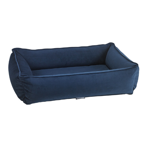 Bowsers Pet MicroVelvet Urban Lounger Rectangle Nest Dog Bed — Navy