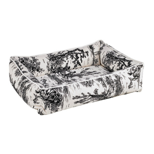 Bowsers MicroVelvet Urban Lounger Rectangle Nest Dog Bed — Onyx Toile