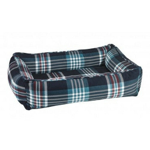 Bowsers MicroVelvet Urban Lounger Dog Bed — Glen Meadow Tartan Plaid
