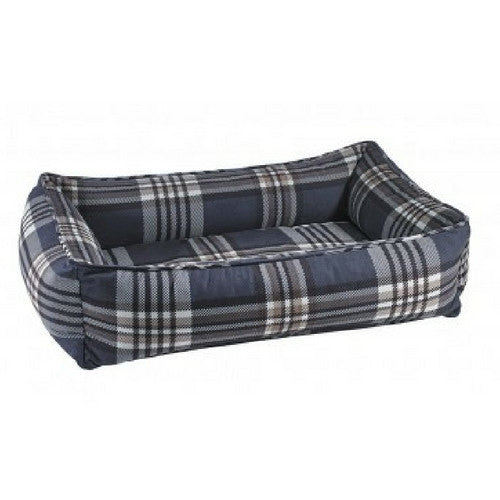 Bowsers MicroVelvet Urban Lounger Dog Bed — Greystone Tartan Plaid