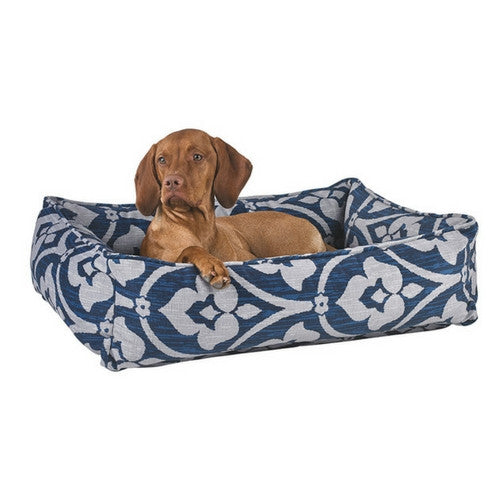 Bowsers Pet MicroVelvet Urban Lounger Rectangle Nest Dog Bed — Regency with Dog