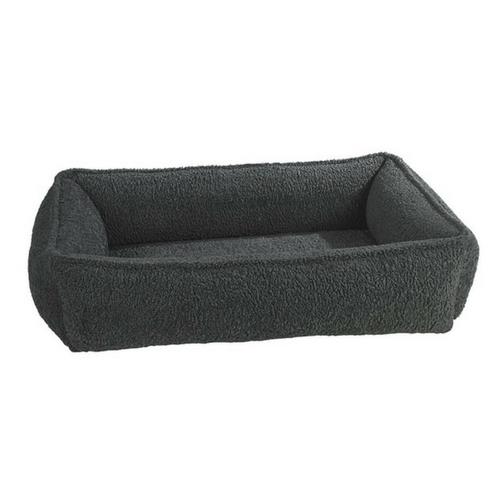 Bowsers Urban Lounger Bolstered Nesting Dog Bed — Faux Sheepskin Grey