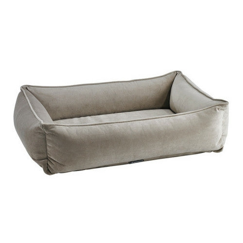 Bowsers Pet MicroVelvet Urban Lounger Rectangle Nest Dog Bed — Almond