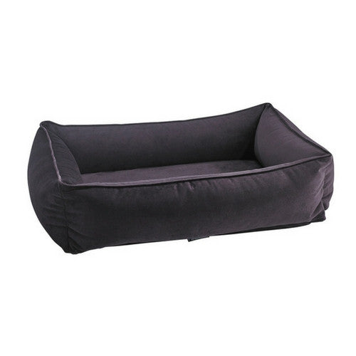 Bowsers MicroVelvet Urban Lounger Rectangle Nest Dog Bed — Aubergine