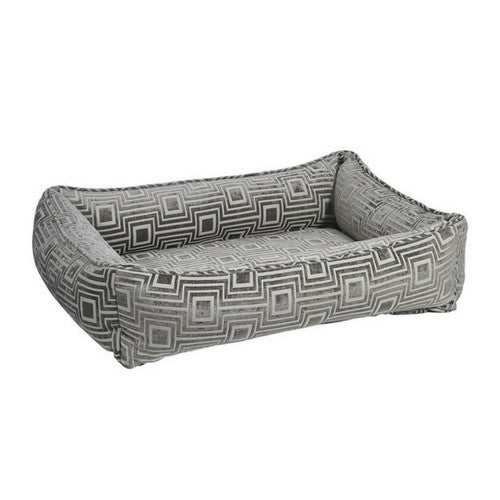 Bowsers MicroLinen Jacquard Urban Lounger Rectangle Nest Dog Bed — Cafe Au Lait