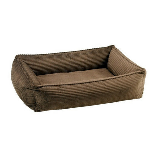 Bowsers MicroCord Urban Lounger Rectangle Nest Dog Bed — Coffee Brown