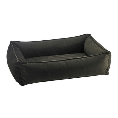 Bowsers MicroVelvet Urban Lounger Rectangle Nesting Dog Bed — Hickory