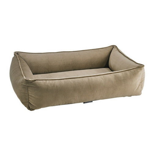 Bowsers MicroVelvet Urban Lounger Rectangle Nesting Dog Bed — Toffee