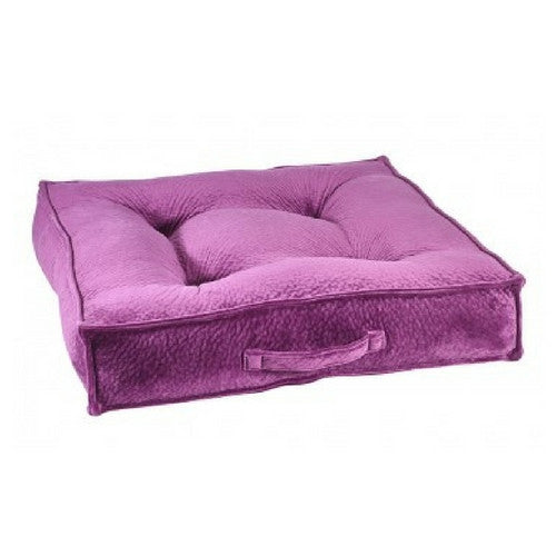 Bowsers Pet Products MicroVelvet Square Piazza Dog Bed — Magenta