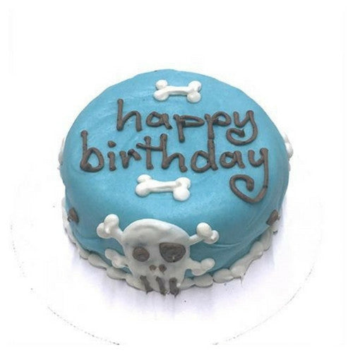 Bubba Rose Biscuit Company Blue Punk Rock Skull Peanut Butter Cake For Dogs