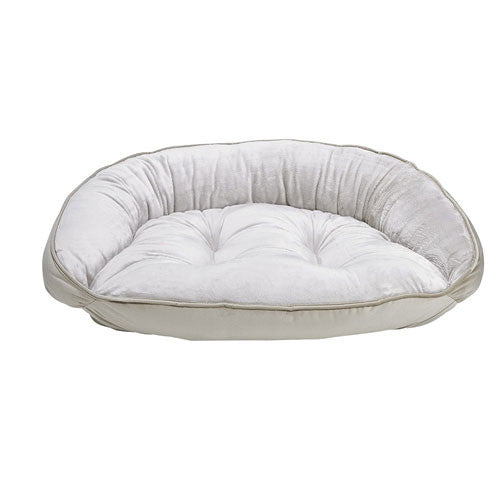 Crescent Bolstered Dog Bed — Almond MicroVelvet / Creme Faux Fur
