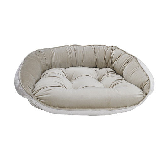 Crescent Bolstered Dog Bed — Almond MicroVelvet / Creme Faux Fur Reversed
