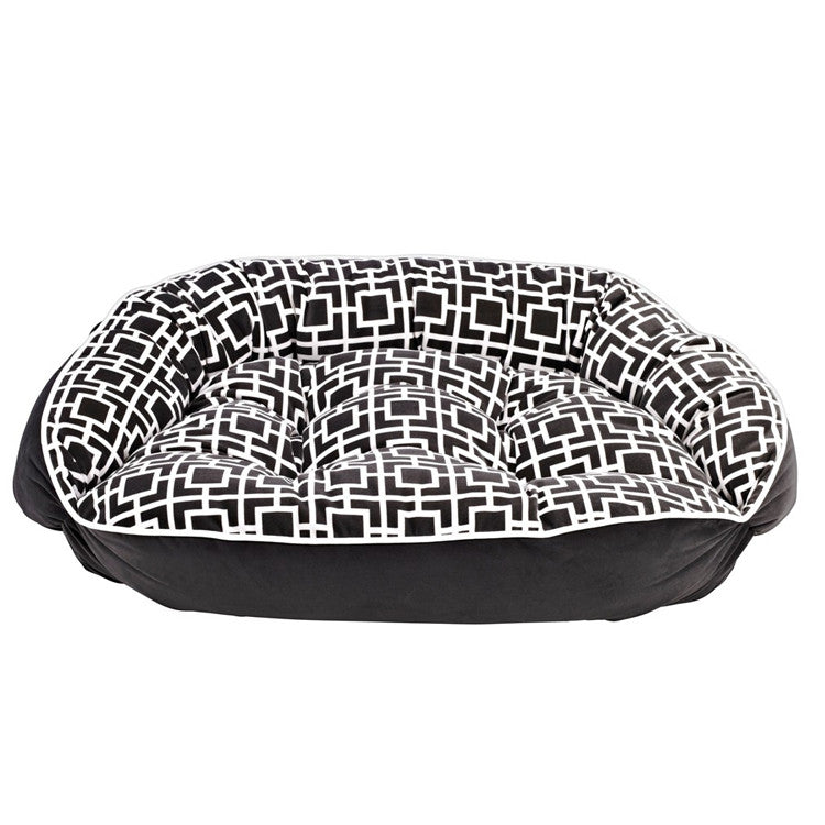 Crescent Bolstered Dog Bed — Courtyard Grey MicroVelvet / Ash MicroVelvet