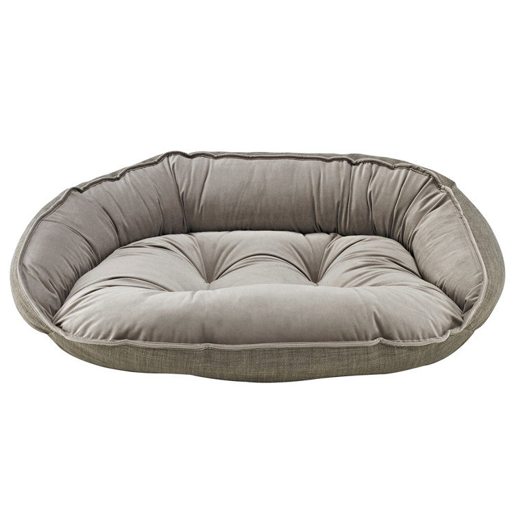Crescent Bolstered Dog Bed — Driftwood MicroLinen / Pebble MicroVelvet Reverse