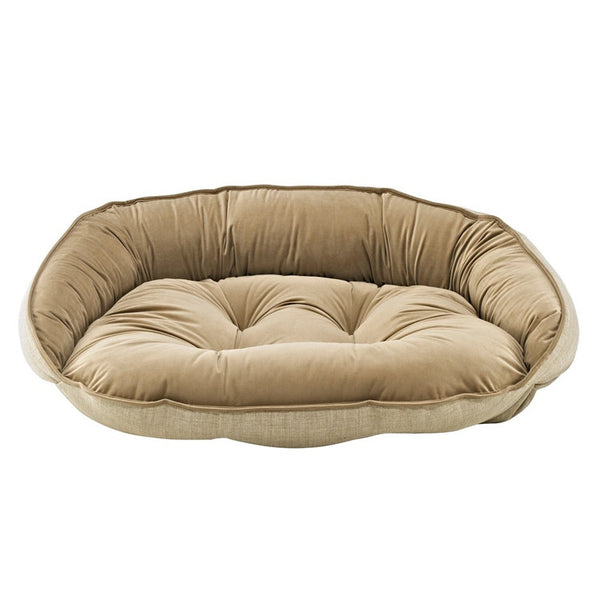 Bowsers Crescent Bolstered Dog Bed — Flax MicroLinen / Toffee MicroVelvet