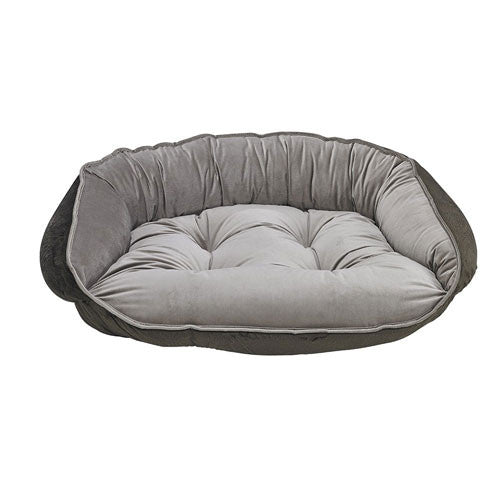 Bowsers Crescent Bolstered Dog Bed — Pebble MicroVelvet / Brown Faux Fur