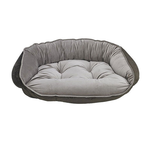 Crescent Bolstered Dog Bed — Pebble MicroVelvet / Brown Faux Fur